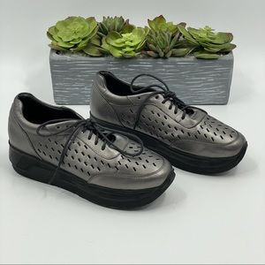 Kiss Moon | Silver Perforated Platform Sneakers